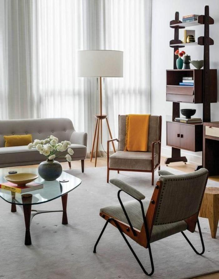 wohnzimmer vintage look:schönes wohnzimmer retro look hellgrauer teppich stauraum ideen