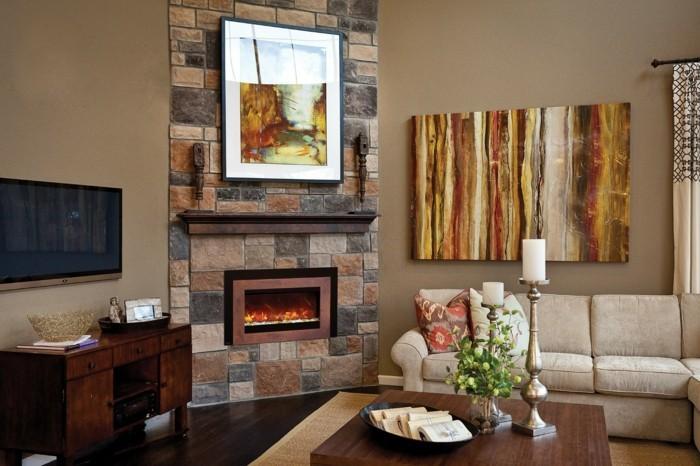 schönes wohnzimmer rustikale elemente feuerstelle schickes sofa