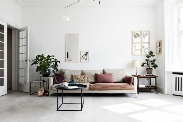schönes wohnzimmer skandinavisch pflanzen weiße wände