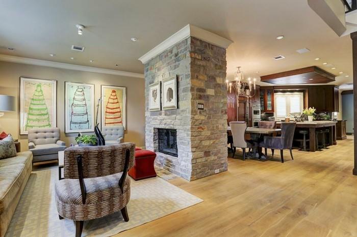schönes wohnzimmer wanddeko kamin einbauleuchten