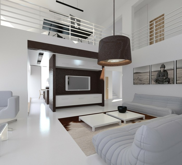 schönes wohnzimmer weißes interieur fernseher