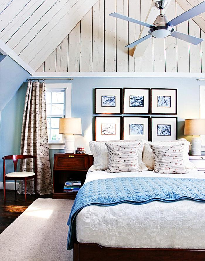 Uberlegen Schlafzimmer Blau Blaue Wände Braune Möbel Dachschräge