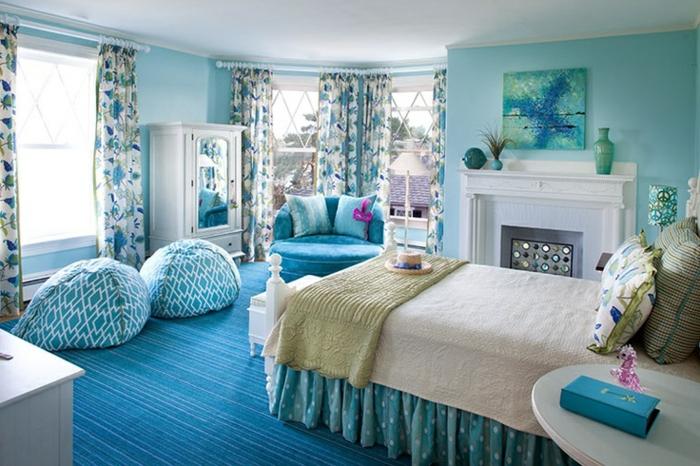 Blauer teppich  Schlafzimmer Blau - 50 blaue Schlafbereiche, die Schlaf und ...