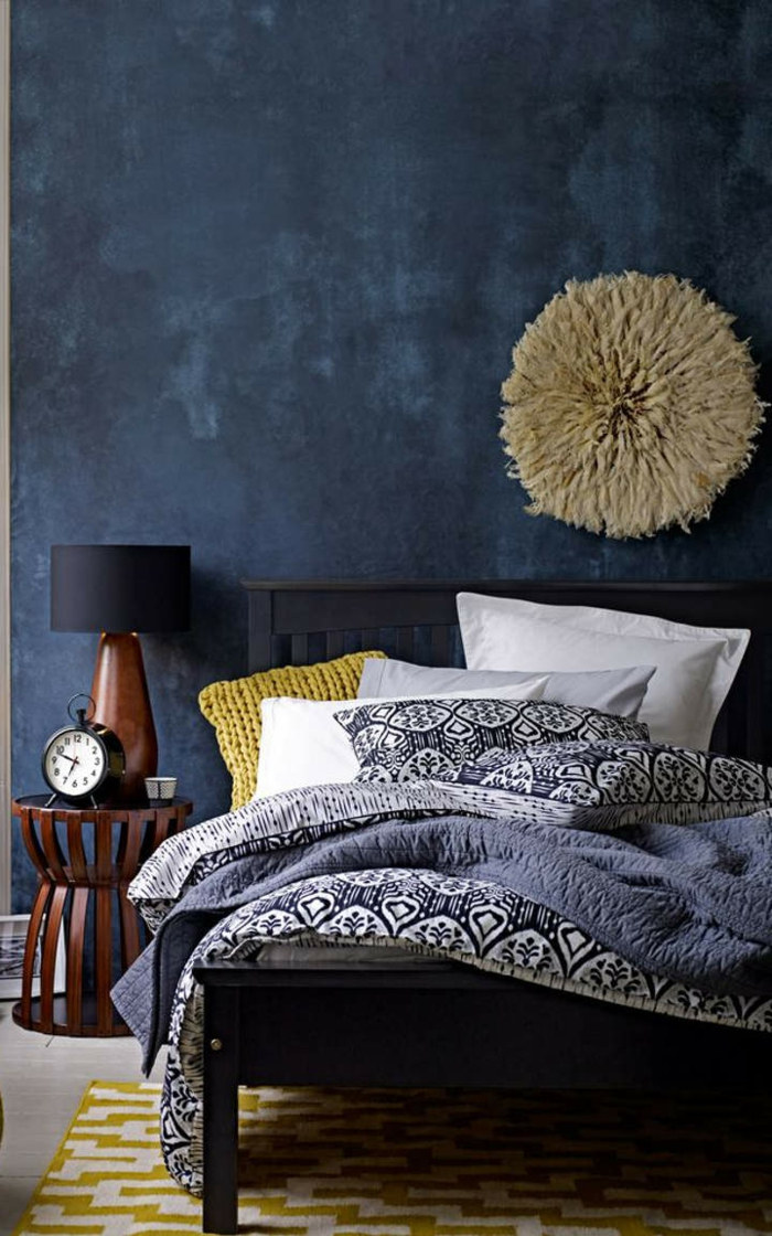 schlafzimmer blau dunkelblaue wandfarbe - Dunkelblaue Wandfarbe