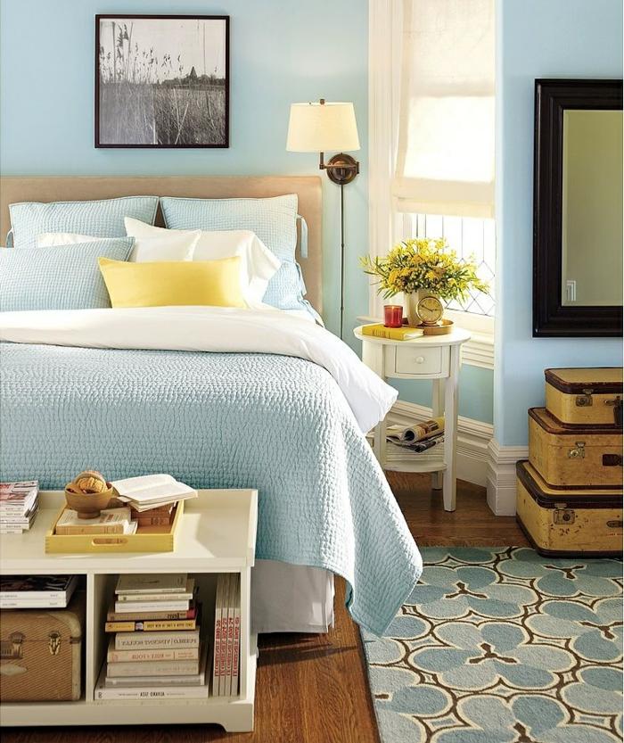 Schlafzimmer Blau Hellblaue Wände Frische Akzente