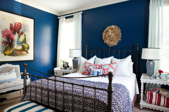 Erstaunlich Schlafzimmer Blau Helle Gardinen Blaue Wände