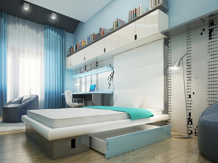 Schlafzimmer Blau Helle Wände Frische Gardinen Stauraum Bett