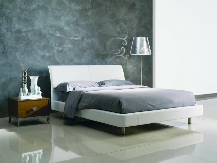Schlafzimmer Grau Coole Akzentwand Bodenfliesen Weißes Bett