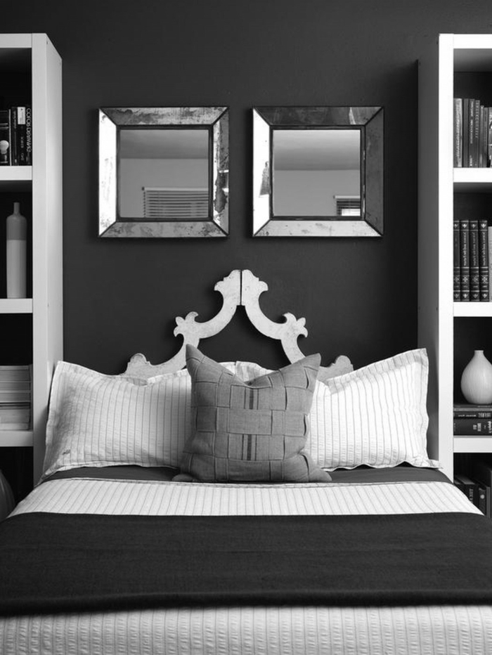 schlafzimmer grau dunkelgrau helle akzente wandspiegel