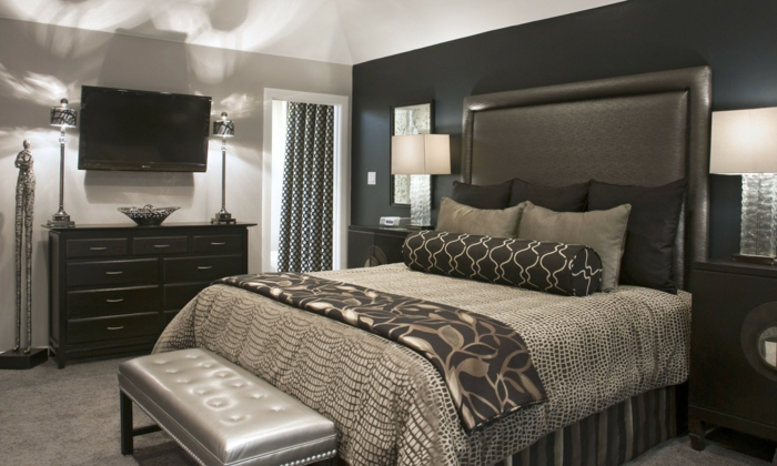 schlafzimmer grau dunkelgrau luxuriös beleuchtung