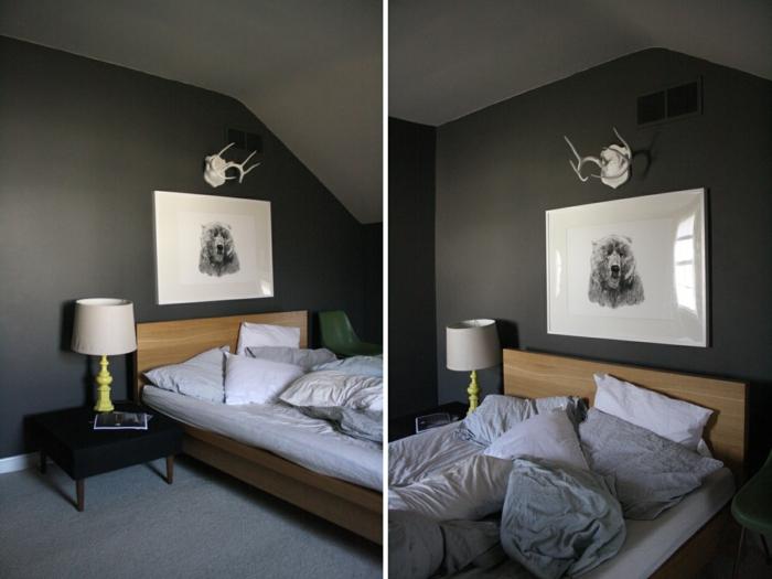 Schlafzimmer Grau Dunkle Wände Dachschräge