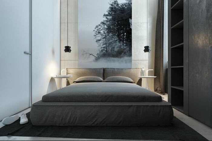 schlafzimmer grau dunkler teppich elegantes bett hängeleuchten