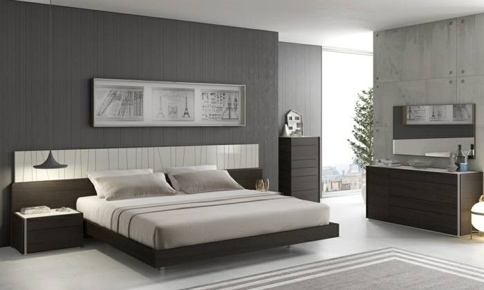 schlafzimmer grau eleganter teppich coole hängeleuchte