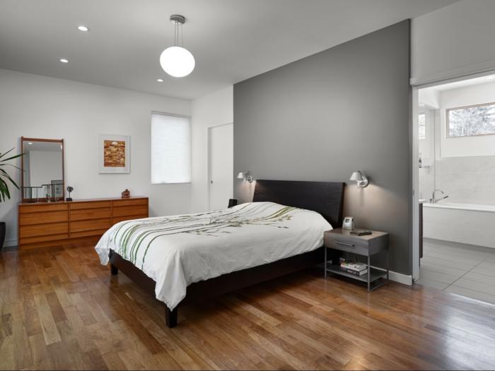 schlafzimmer grau graue akzentwand einbauleuchten bettwäsche