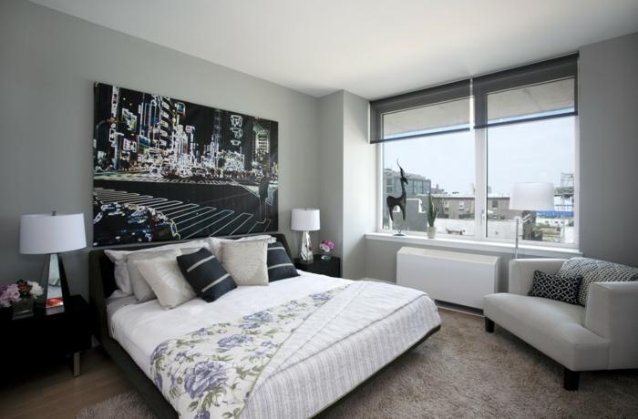 Schlafzimmer Grau Graue Wände Coole Wanddeko Schöne Aussicht