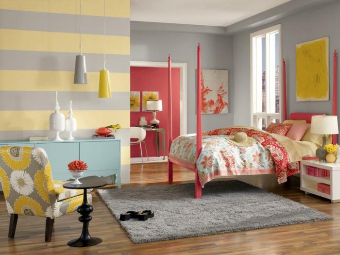 einrichtungsideen grau schlafzimmer graue wände verschiedene muster hängelampen