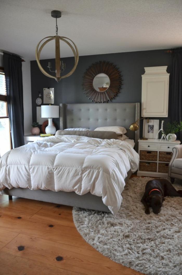 schlafzimmer grau graue wände weiße zimmerdecke runder teppich