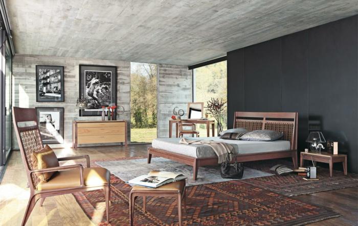 schlafzimmer grau grauer teppich kommode schöne wandgestaltung