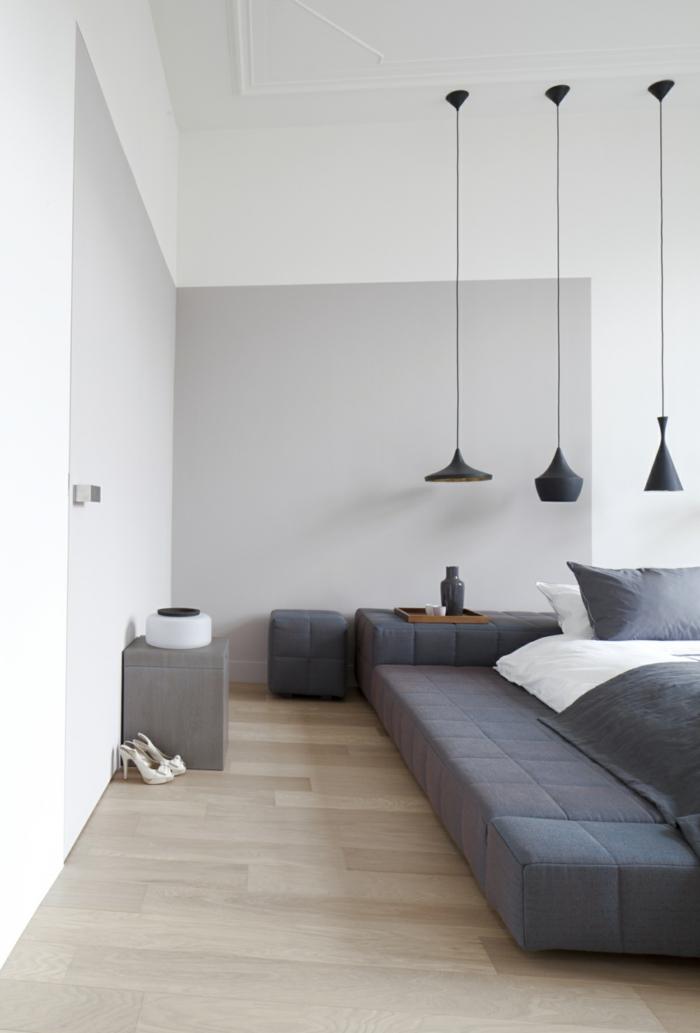 schlafzimmer grau hellgraue wände modernes bett