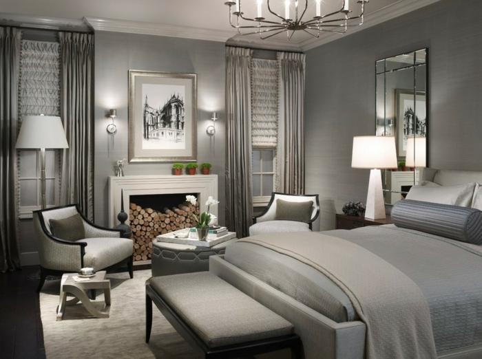 schlafzimmer grau kamin gemütlich blumendeko