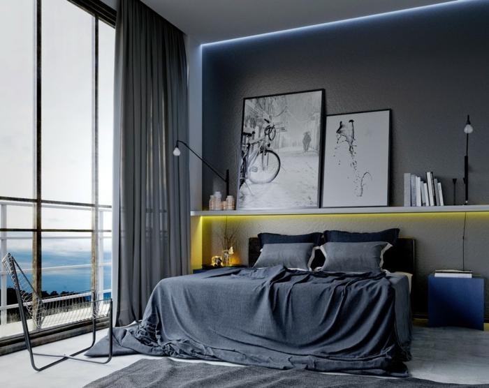 einrichtungsideen grau schlafzimmer led beleuchtung männlich
