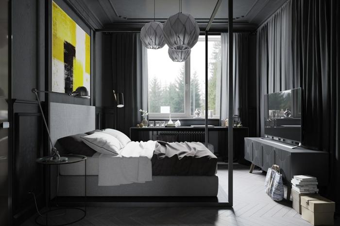 einrichtungsideen grau schlafzimmer maskulinum look grelle akzente