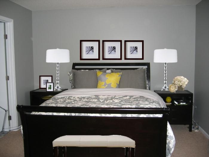 schlafzimmer grau wände teppichboden dunkle möbel