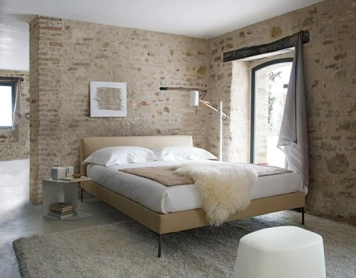 schlafzimmer landhausstil ziegelwände für mehr gemütlichkeit