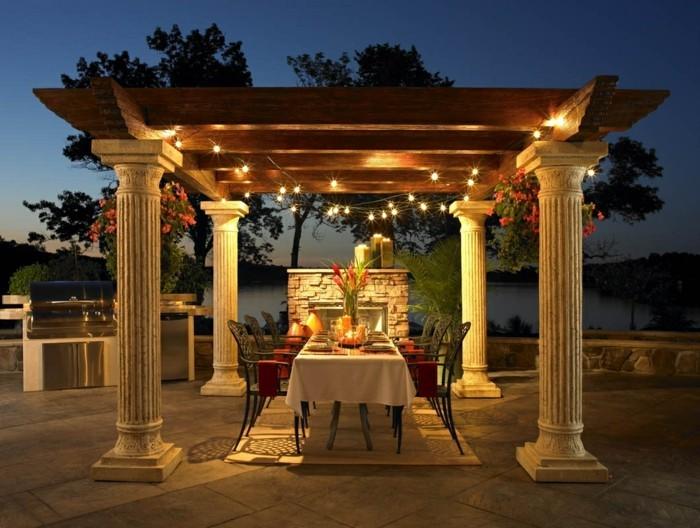 terrassenüberdachung pergola bauen strohhütte weiß luxus