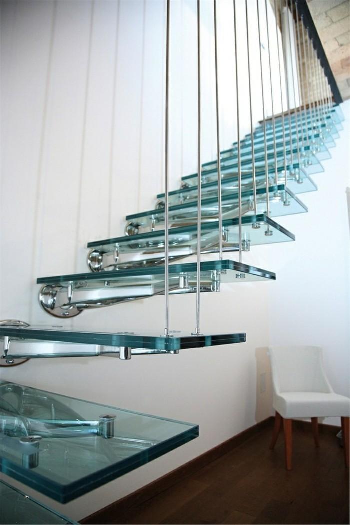 treppengestaltung gläserne treppenstufen innentreppen design