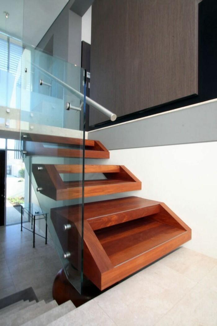 treppengestaltung organisch gläsernes treppengeländer