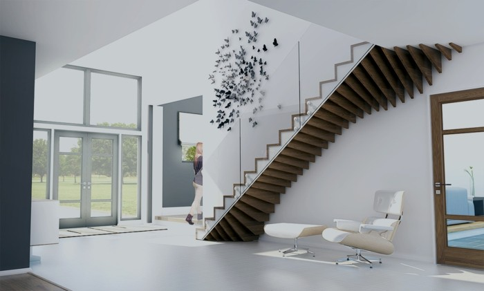 treppengestaltung organische treppen moderne wohnideen weißer bodenbelag