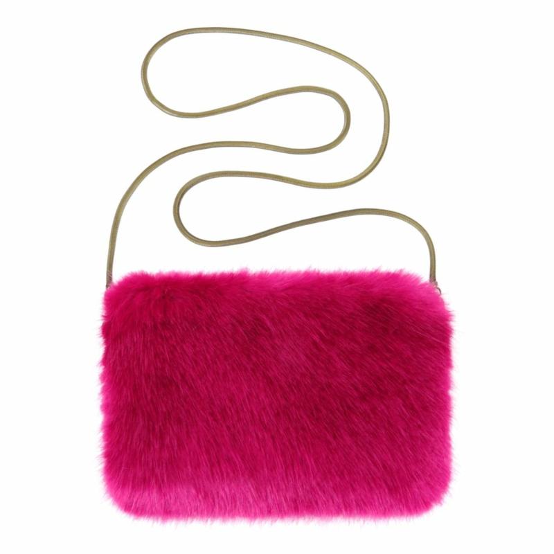 vegane mode helen moore accessories magenta chain bag
