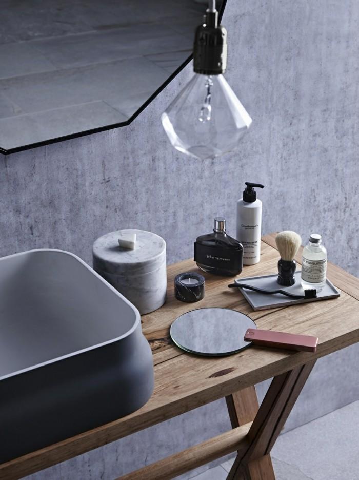 waschbecken design keramik schwarz naturholz waschtisch