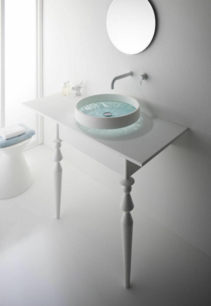 waschbecken design minimalistische badezimmereinrichtung weiß waschtisch wandspiegel