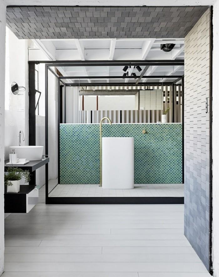 waschbecken design rund keramik armatur chrom badeinrichtung mosaik wandfliesen