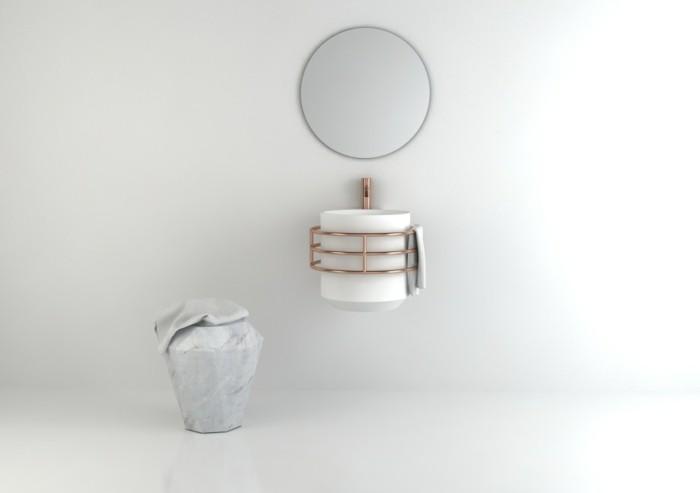 waschbecken design rund marmor kupfer wandspiegel