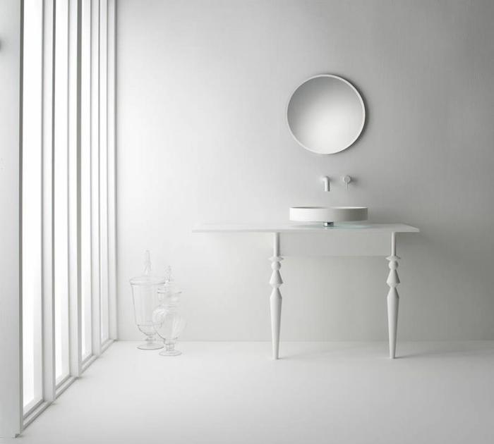waschbecken design rund schwebend weißer waschtisch wandspiegel