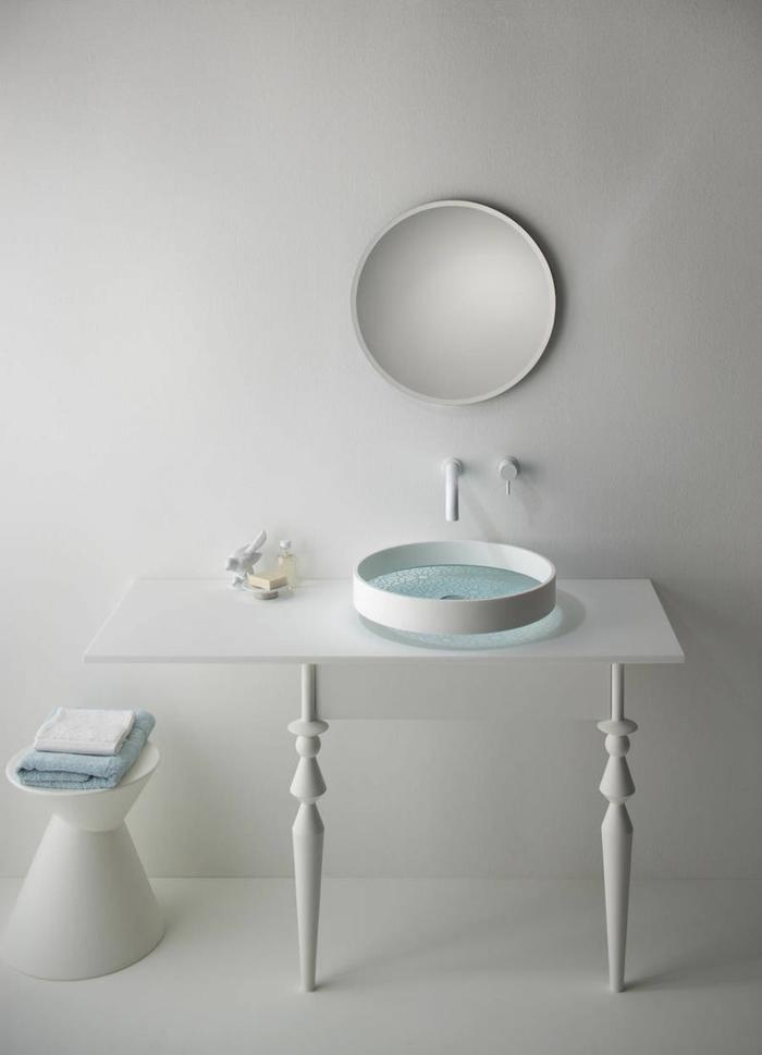 waschbecken design rund weiß minimalisitsche badezimmereinrichtung