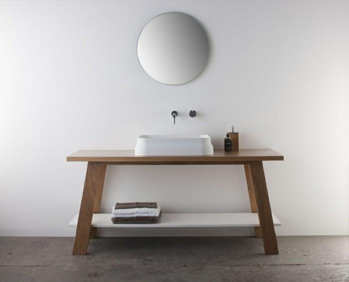 waschbecken design weiß keramik naturholz runder wandspiegel