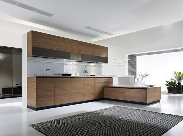 wohnideen küche hölzerne küchenschränke teppich