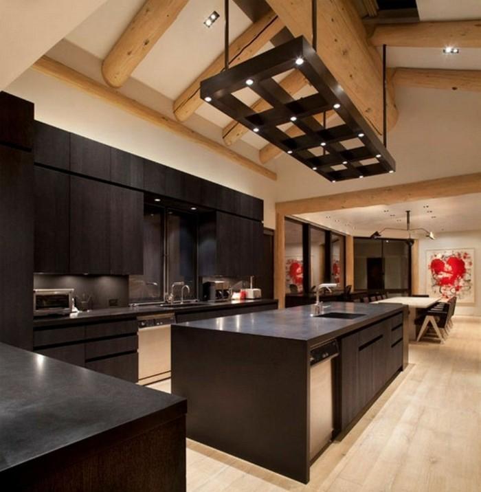wohnideen küche schwarze küchenschränke modernes küchendesign