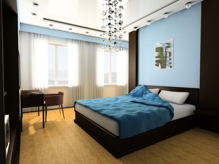 Schlafzimmer Gestalten Blau #22: Schlafzimmer Blau Einbauleuchten Schöner Leuchter