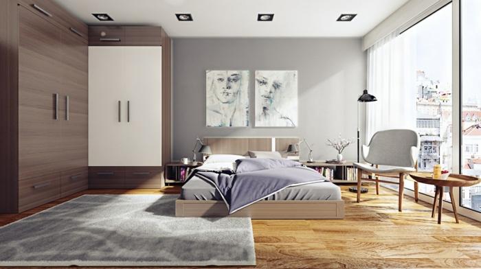 wohnideen schlafzimmer bodenbelag holzoptik hellgraue wand eleganter teppich