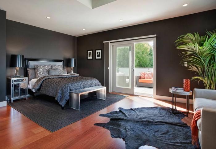wohnideen schlafzimmer dunkelgraue wände fellteppich akzente einbauleuchten