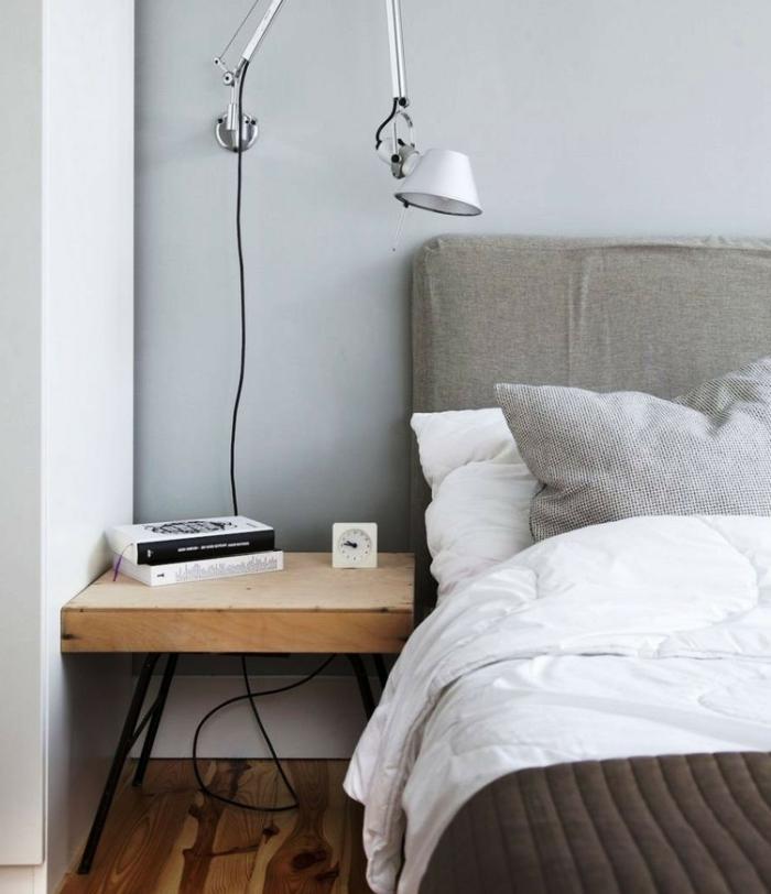 wandfarbe hellgrau wohnideen schlafzimmer hellgraue wände kleines schlafzimmer bodenbelag holzoptik