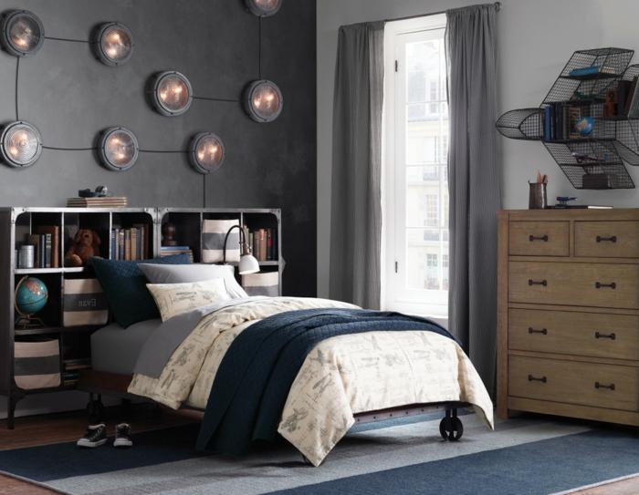 wohnideen schlafzimmer jungenzimmer graue wände streifenteppich coole beleuchtung