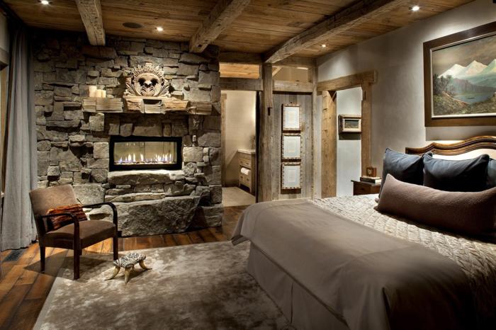 wohnideen schlafzimmer kamin eleganter teppich gemütlich landhausstil