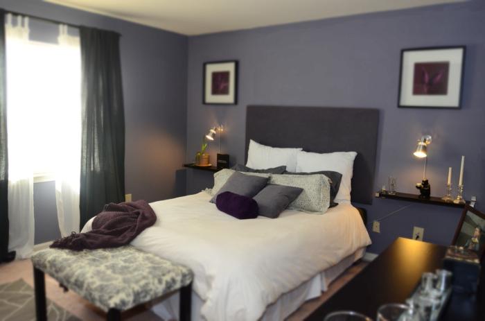 wohnideen schlafzimmer kleiner schlafbereich graue wände