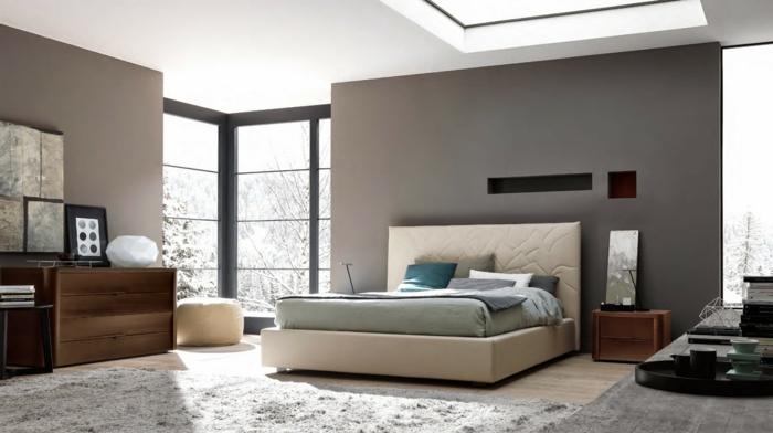 wandfarbe hellgrau wohnideen schlafzimmer modernes design graue wände teppich kommode